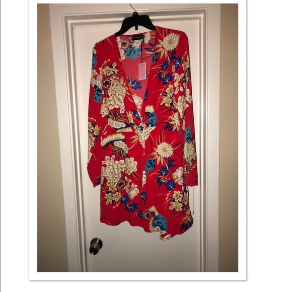 038565ee3442 Red floral long sleeve wrap dress